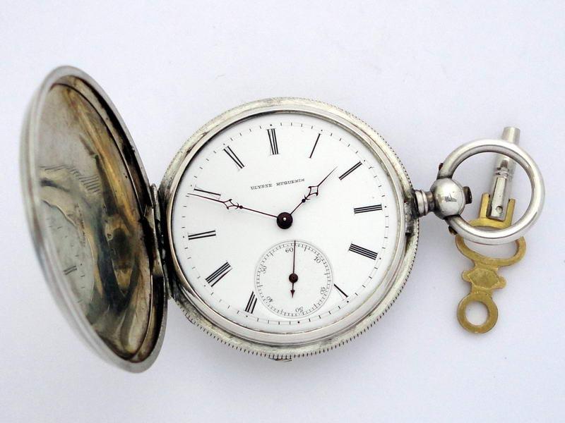 Старинные серебряные карманные часы Ulysse