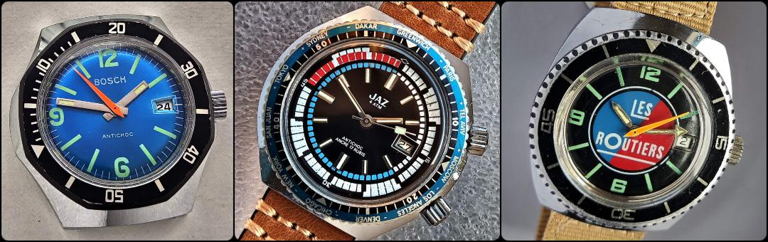 Coloured vintage dials BOSCH, JAZ, LES ROUTIERS vintage watches