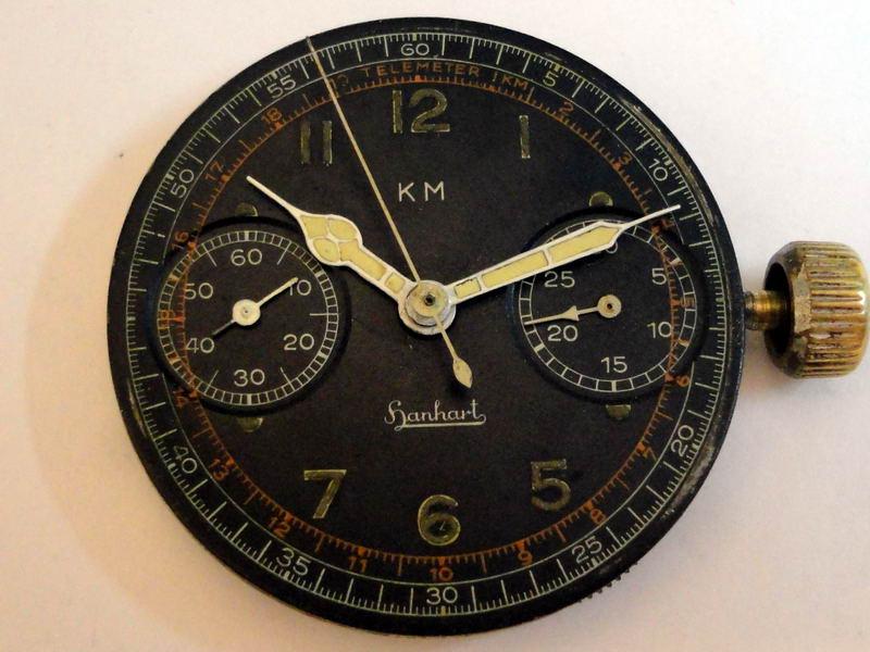 KM Hanhart dial and hands radium