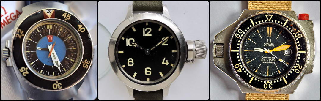 Omega PloProf, USSR Zlatoust vintage diving watches
