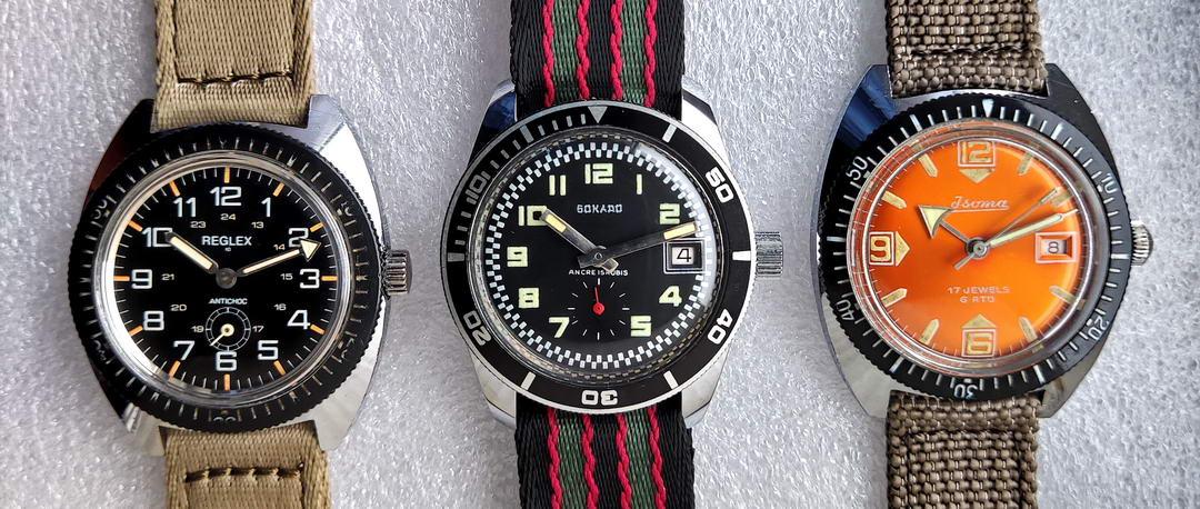 Reglex, Sokado, Isoma vintage diving watches