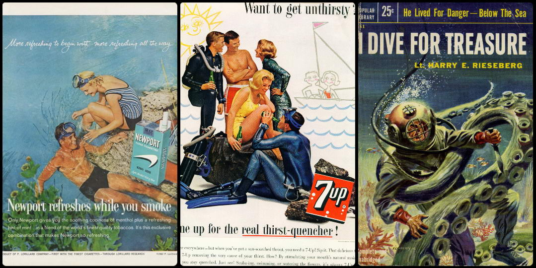 Diving popularity in advertising posters and book covers