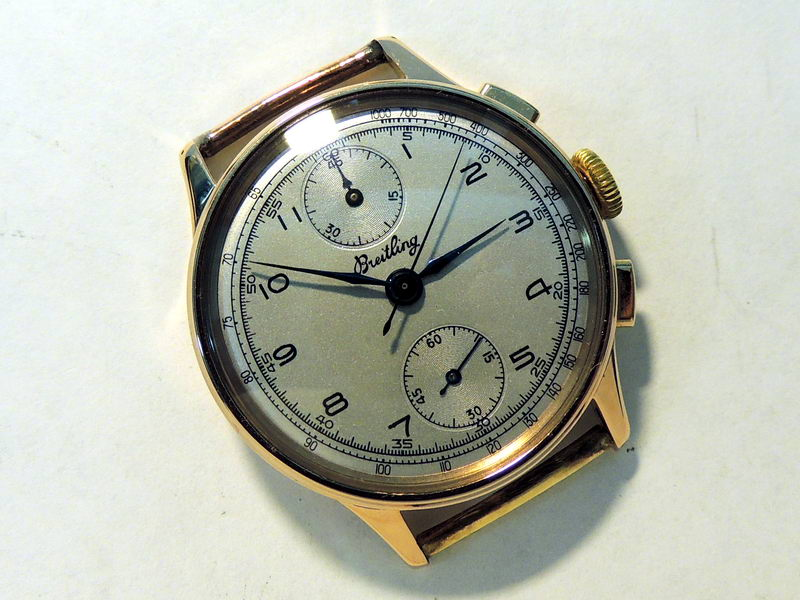 18K gold Breitling chronograph, restored dial