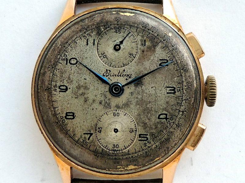 18K gold Breitling chronograph damaged dial